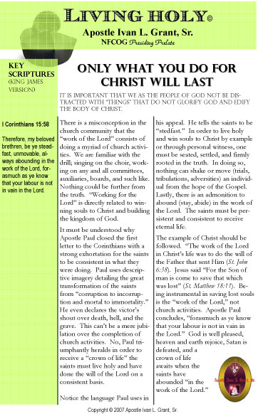 Only What You Do For Christ Will Last