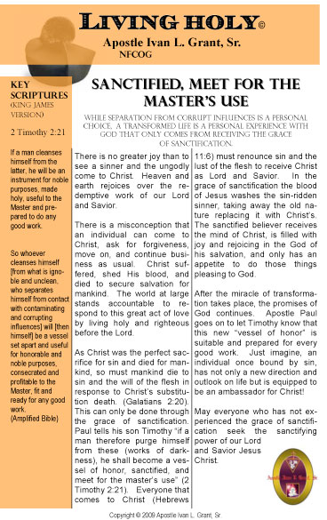 Sanctified, Meet for the Master's Use